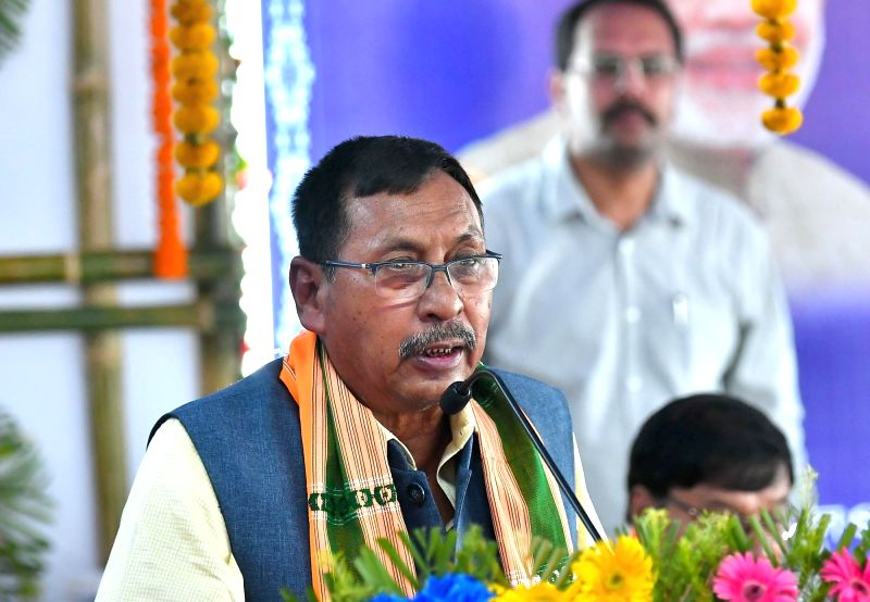 Agartala: Union Minister of State for Railways Rajen Gohain addresses at the flag-off ceremony of the Agartala-Deoghar Express Weekly train, at Agartala Railway Station, in Agartala on July 6, 2018. (Photo: IANS/PIB)