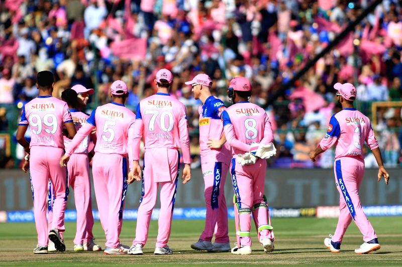 Jaipur: Rajasthan Royals' celebrates fall of Rohit Sharma's wicket during the 36th match of IPL 2019 between Rajasthan Royals and Mumbai Indians at Sawai Mansingh Stadium in Jaipur, on April 20, 2019. (Photo: IANS)