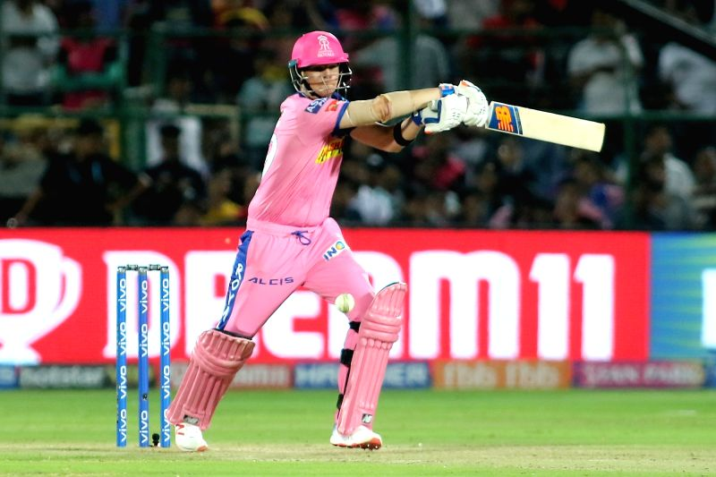 Jaipur: Rajasthan Royals' Steven Smith in action during the 14th IPL 2019 match between Rajasthan Royals and Royal Challengers Bangalore at Sawai Mansingh Stadium in Jaipur on April 2, 2019. (Photo: IANS)