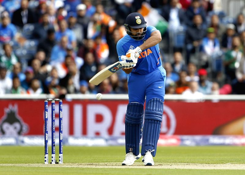 Manchester: India's Rohit Sharma in action during the 22nd match of 2019 World Cup between India and Pakistan at Old Trafford in Manchester, England on June 16, 2019. (Photo: Surjeet Yadav/IANS)