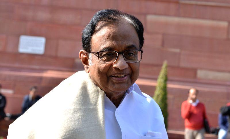 New Delhi: Congress MP P. Chidambaram at Parliament in New Delhi, on Feb 4, 2019. (Photo: IANS)