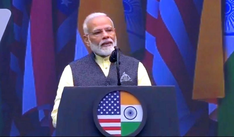 Prime Minister Narendra Modi addresses during the 'Howdy Modi' event at NRG Stadium in Houston, USA, on Sep 22, 2019.