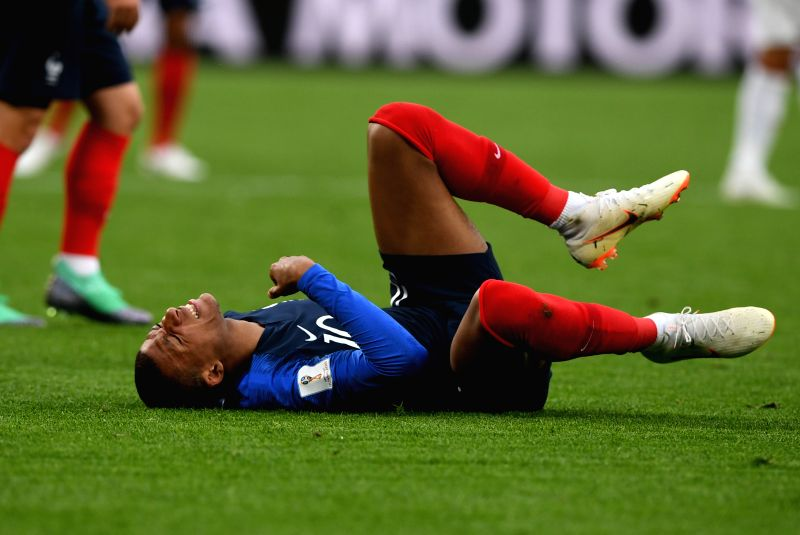 YEKATERINBURG, June 21, 2018 - Kylian Mbappe of France falls down during the 2018 FIFA World Cup Group C match between France and Peru in Yekaterinburg, Russia, June 21, 2018.