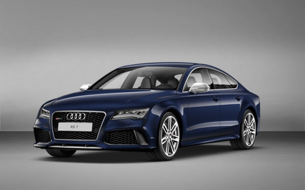 Blue Audi RS7 front side view