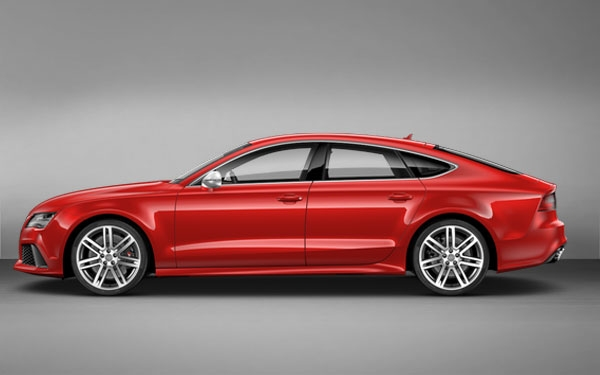 Red Audi RS7 side view
