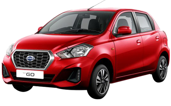 Datsun Go Exterior Front Side View (Ruby Red)