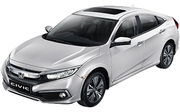Honda Civic Exterior Front Side View (Platinum White)