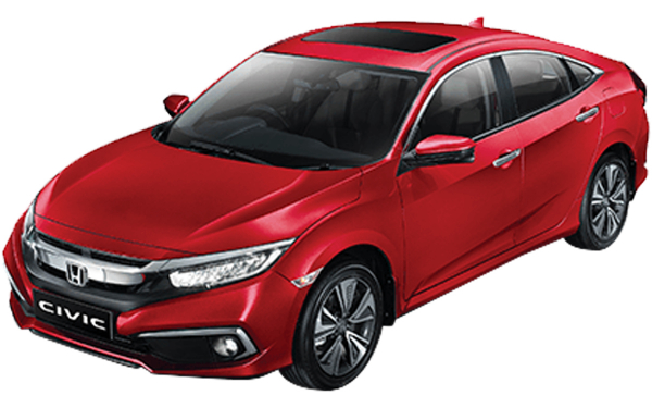 Honda Civic Exterior Front Side View (Radiant Red)