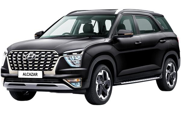 Hyundai Alcazar Exterior Front Side View (Phantom Black)