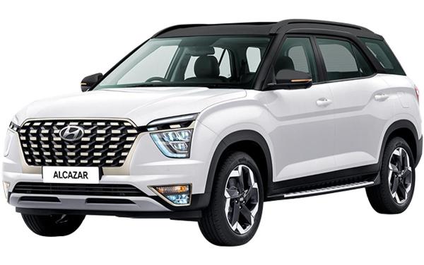 Hyundai Alcazar Exterior Front Side View (Polar White Dual Tone)