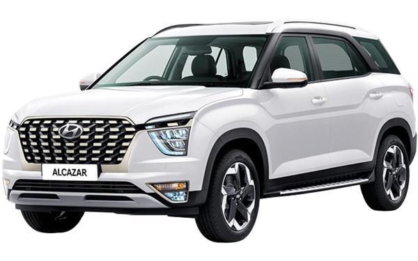 Hyundai Alcazar Exterior Front Side View (Polar White)