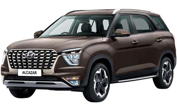 Hyundai Alcazar Exterior Front Side View (Taiga Brown)