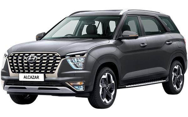 Hyundai Alcazar Exterior Front Side View (Titan Grey)