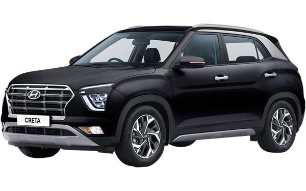 Hyundai Creta Exterior Front Side View (Phantom Black)