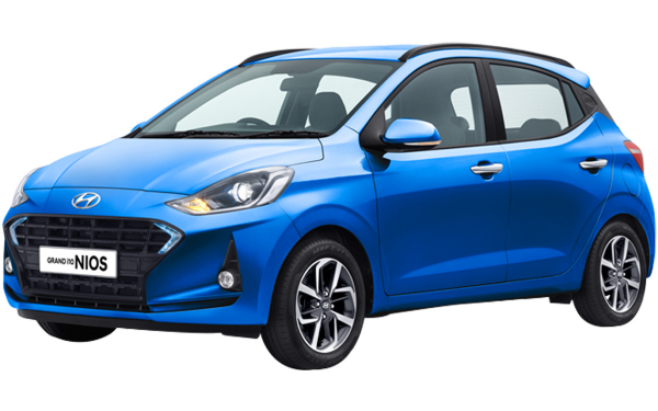 Hyundai Grand i10 Nios Exterior Front Side View (Alpha Blue)