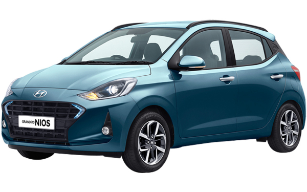 Hyundai Grand i10 Nios Exterior Front Side View (Aqua Teal)