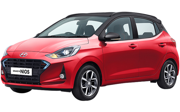 Hyundai Grand i10 Nios Exterior Front Side View (Fiery Red Turbo Pack)