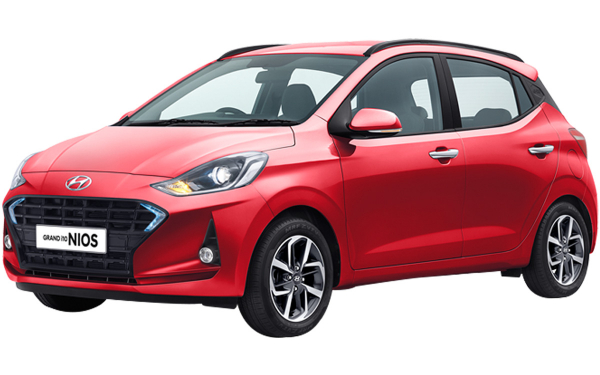 Hyundai Grand i10 Nios Exterior Front Side View (Fiery Red )