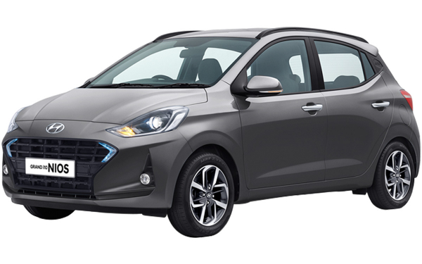 Hyundai Grand i10 Nios Exterior Front Side View (Titan Gray)