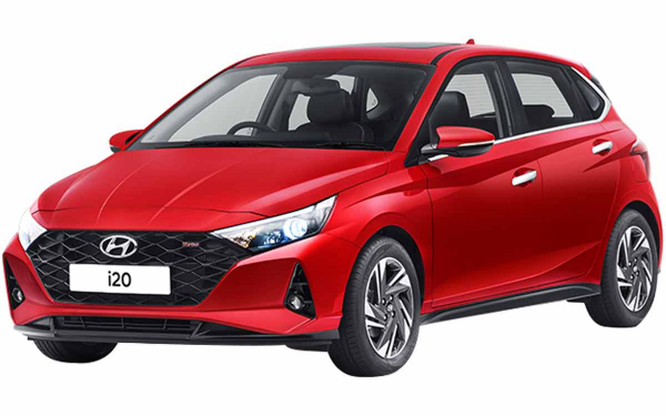 Hyundai i20 Exterior Front Side View (Fiery Red Turbo)