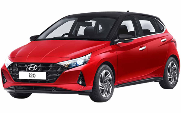 Hyundai i20 Exterior Front Side View (Fiery Red with Black Roof)