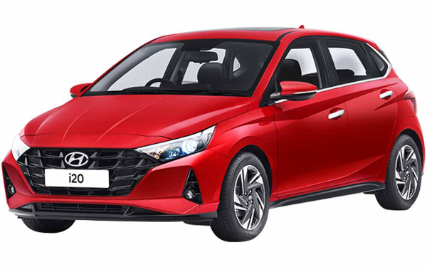Hyundai i20 Exterior Front Side View (Fiery Red)
