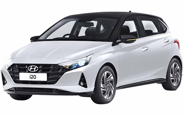 Hyundai i20 Exterior Front Side View (Polar White with Black Roof)