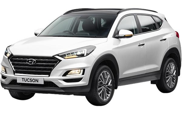 Hyundai Tucson Exterior Front Side View (Polar White)