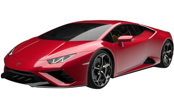 Lamborghini Huracan Evo RWD Front Side View (Rosso Efesto)