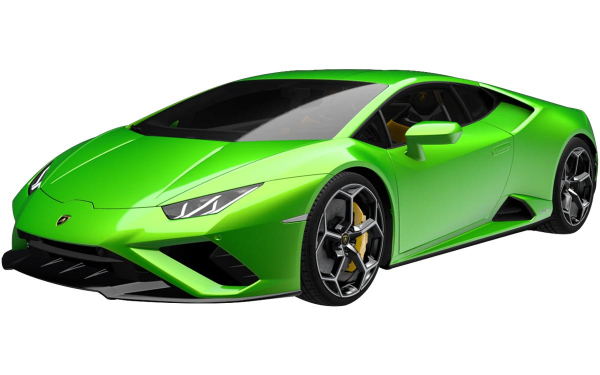 Lamborghini Huracan Evo RWD Front Side View (Verde Selvans)