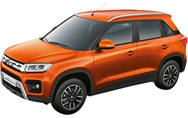 Maruti Suzuki Vitara Brezza Exterior Front Side View (Autumn Orange)