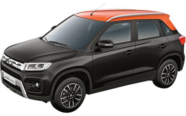 Maruti Suzuki Vitara Brezza Exterior Front Side View (Granite Grey with Autumn Orange Roof)