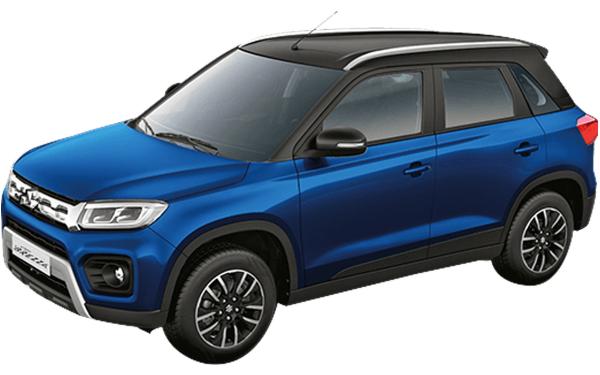 Maruti Suzuki Vitara Brezza Exterior Front Side View (Torque Blue with Midnight Black Roof)