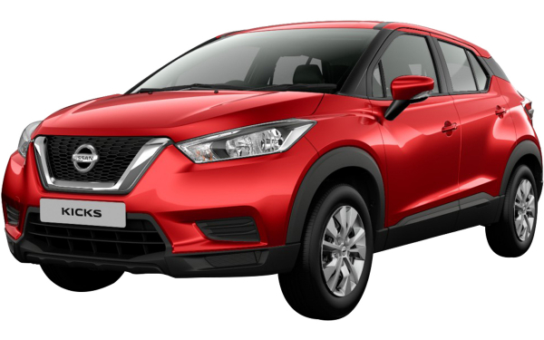 Nissan Kicks Exterior Front Side View (Fire Red)