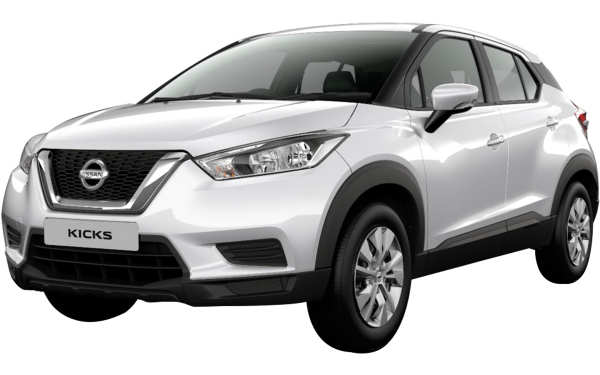 Nissan Kicks Exterior Front Side View (Pearl White)
