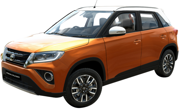 Toyota Urban Cruiser Exterior Front Side View (Groovy Orange With Sunny White Roof)