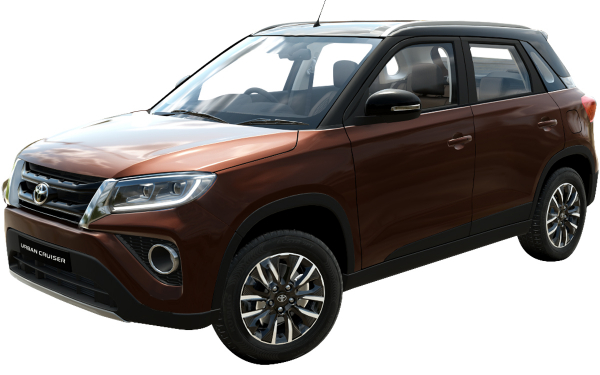 Toyota Urban Cruiser Exterior Front Side View (Rustic Brown With Sizzling Black Roof)