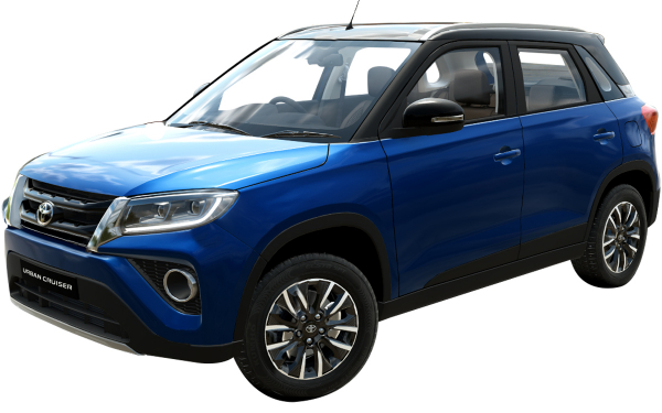Toyota Urban Cruiser Exterior Front Side View (Spunky Blue With Sizzling Black Roof)