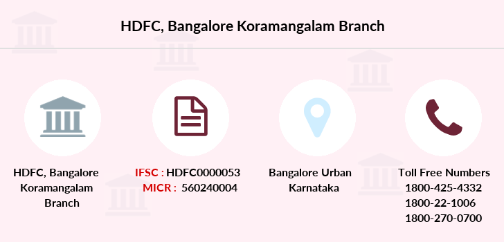 Hdfc-bank Bangalore-koramangalam branch