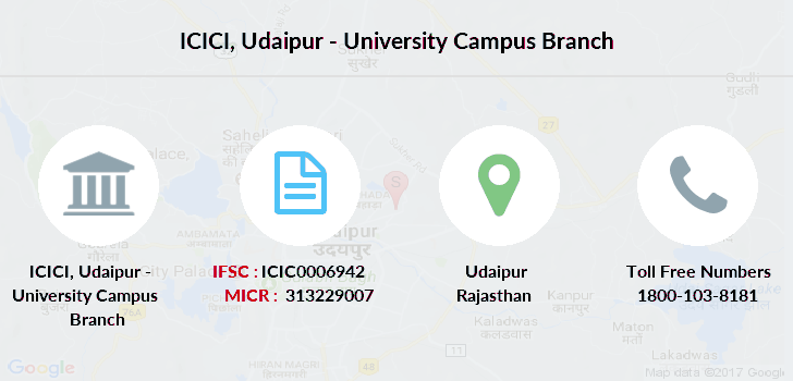 Icici Bank Udaipur University Campus Ifsc Branch Info