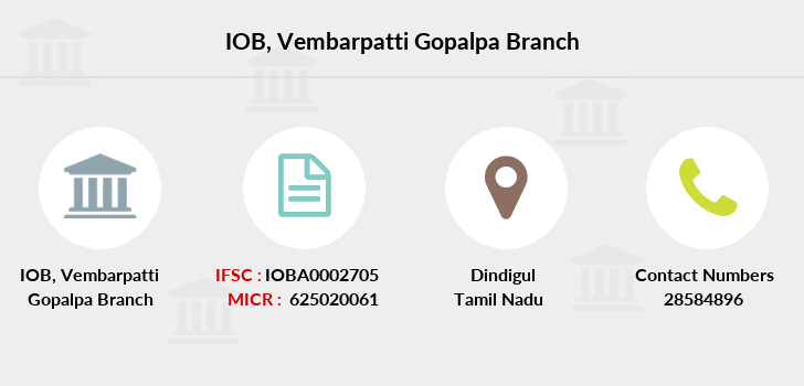 Indian-overseas-bank Vembarpatti-gopalpa branch