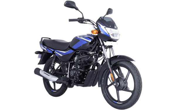 Bajaj CT 100 Front Side View (Gloss Ebony Black with Blue Decals)