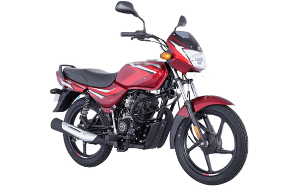 Bajaj CT 100 Front Side View (Gloss Flame Red with Bright Red Decals)