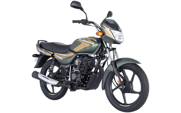 Bajaj CT 100 Front Side View (Matte Olive Green with Yellow Decals)