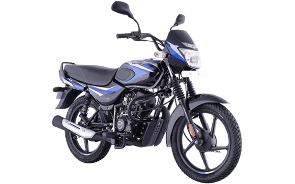 Bajaj CT 110 Front Side View (Gloss Ebony Black with Blue Decals)