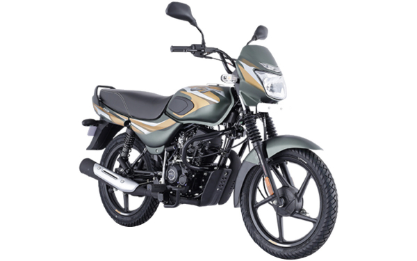 Bajaj CT 110 Front Side View (Matte Olive Green with Yellow Decals)