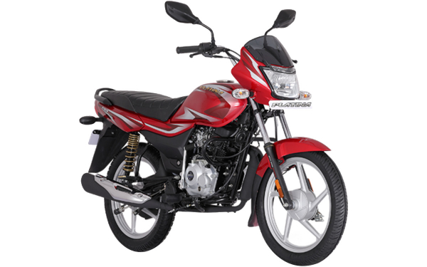 Bajaj Platina 100 Front Side View (Red)