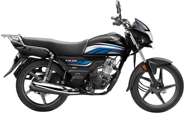 Honda CD 110 Dream Side View (Black with Blue)