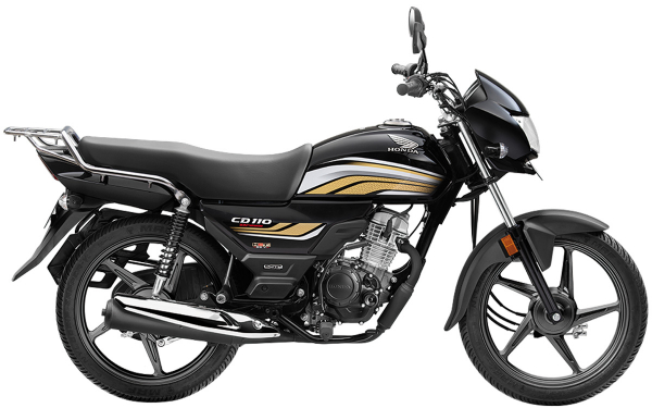 Honda CD 110 Dream Side View (Black with Cabin Gold)