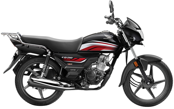 Honda CD 110 Dream Side View (Black with Red)